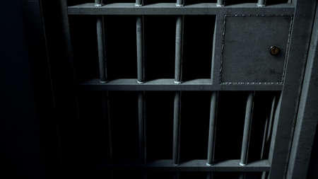 A closeup of the locking mechanism of a closed jail cell with welded iron bars on a dimly lit dark background - 3D render Stock Photo