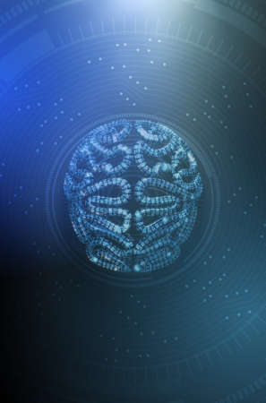 A stylized brain textured with binary computer data code depicting artificial intelligence on a dark background overlaid with an analytical futuristic pattern - 3D render