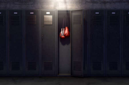 A row of metal gym lockers with one open door revealing that it has a pair of boxing gloves hanging up inside. 3D render Foto de archivo