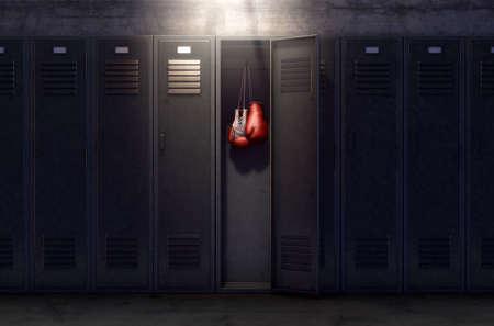 Una hilera de casilleros metálicos de gimnasio con una puerta abierta que revela que tiene un par de guantes de boxeo colgando dentro. Render 3D Foto de archivo