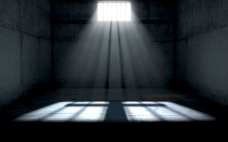 A jail cell interior with a barred up window and light rays penetrating through it casting an image of a crucifix - 3D render