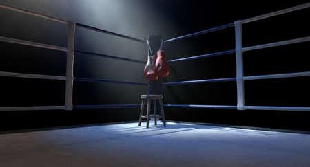 la esquina azul de un ring de boxeo con guantes colgando en un poste aislado en un fondo blanco oscuro - procesamiento 3d Foto de archivo