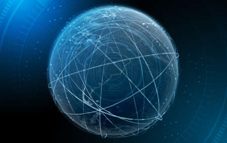 The earth surrounded by swishing orbiting light trails on a dark background overlaid with a technical data anlysis interface - 3D render Stock Photo