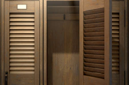A row of vintage wooden gym lockers with one open door revealing an empty interior - 3D render