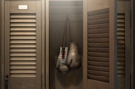 A row of vintage wooden gym lockers with one open door revealing that it has a pair of old worn boxing gloves hanging up inside - 3D render