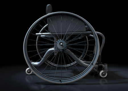 A modified wheelchair used by handicapped athletes to compete in various sporting codes on an isolated dark background - 3D render
