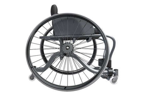 A modified wheelchair used by handicapped athletes to compete in various sporting codes isolated on white background - 3D render Stock Photo