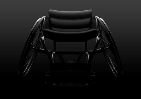 A modified wheelchair used by handicapped athletes to compete in various sporting codes on a moody isolated dark background - 3D render