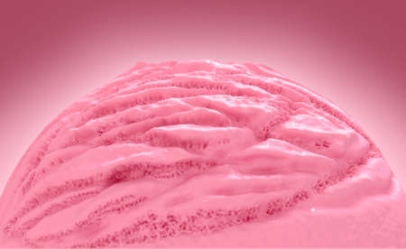 A closeup of a scoop of a creamy ball of strawberry ice-cream on an isolated background - 3D render