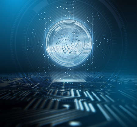 A iota cryptocurrency hologram coin form hovvering over a computer circuit board overlaid with an analytical futuristic pattern - 3D render Stock Photo - 97509219