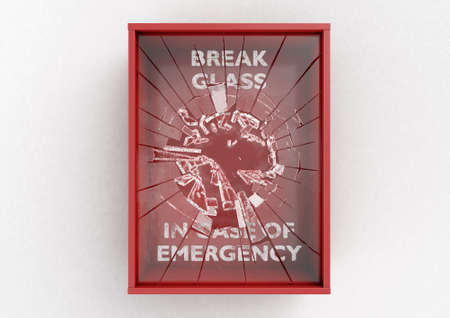 An empty red emergency box with a shattering in case of emergency breakable glass on the front on an isolated background - 3D render