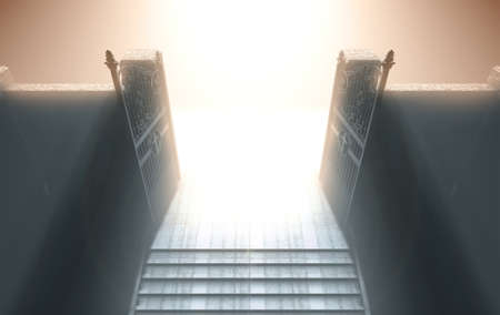 A depiction of the pearly gates of heaven open with the bright side contrasting with the duller foreground and a stairway leading up to it - 3D render Stok Fotoğraf