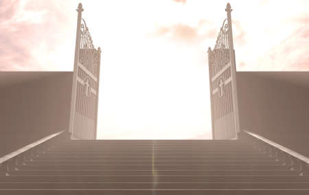 A depiction of the pearly gates of heaven open with the bright side contrasting with the duller foreground and a stairway leading up to it - 3D render Stock Photo