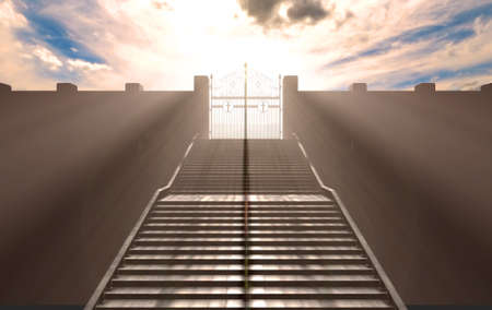 A depiction of the pearly gates of heaven closed with the bright side contrasting with the duller foreground and a stairway leading up to it - 3D render