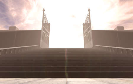 A depiction of the pearly gates of heaven open with the bright side contrasting with the duller foreground and a stairway leading up to it - 3D render Foto de archivo