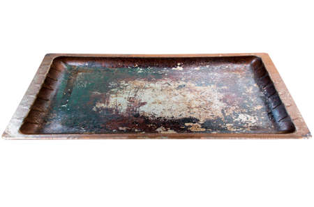 A regular flat worn and tarnished metal oven baking tray on an isolated white studio background - 3D render
