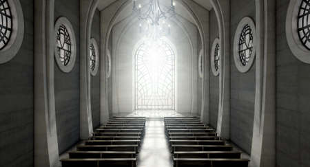 A dark grand church interior lit by suns rays penetrating through a glass window in the pattern of a crucifix - 3D render Imagens