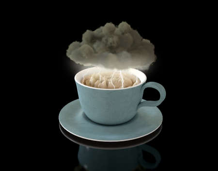 A literal concept of a black storm cloud hoverring over a turbulent cup of tea with lightning striking on an isolated background - 3D render