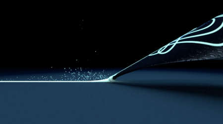 A closeup view of a futuristic fountain pen nib drawing a straight ink line in a glowing luminous color on a textured dark surface - 3D render