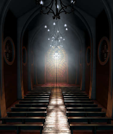 A dark grand church interior lit by suns rays penetrating through a glass window in the pattern of a crucifix - 3D render 写真素材 - 102022130