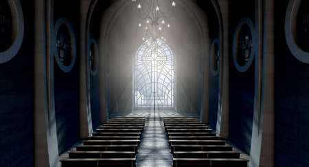 A dark grand church interior lit by suns rays penetrating through a glass window in the pattern of a crucifix - 3D render 報道画像