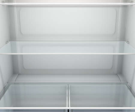A view inside an empty household fridge or freezer with glass shelves and drawers - 3D render Banco de Imagens
