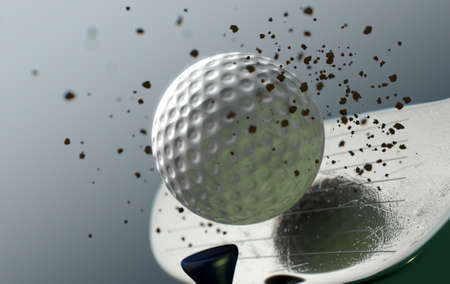 An extreme closeup slow motion action capture of a golf wood club striking a ball with dirt particles emanating on a dark isolated background - 3D render