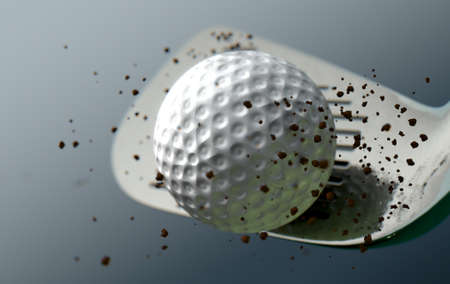 An extreme closeup slow motion action capture of a golf iron club striking a ball with dirt particles emanating on a dark isolated background - 3D render