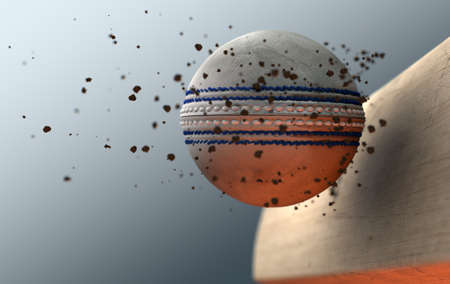 어두운 격리 된 배경에 나오는 먼지 입자와 나무 방망이를 치는 흰색 크리켓 공의 극단적 인 근접 촬영 슬로우 모션 액션 캡처-3D 렌더링
