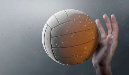 A closeup of a volley ball caught in slow motion flying through the air about to be hit by a dirty hand  - 3D render