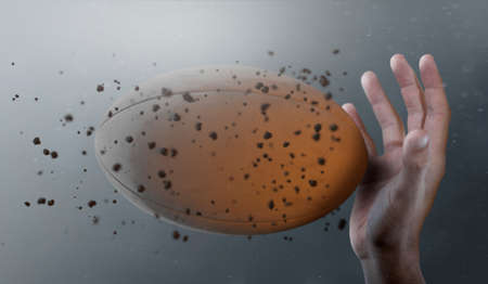 A closeup of a rugby ball caught in slow motion flying through the air about to be caught by a dirty hand  - 3D render