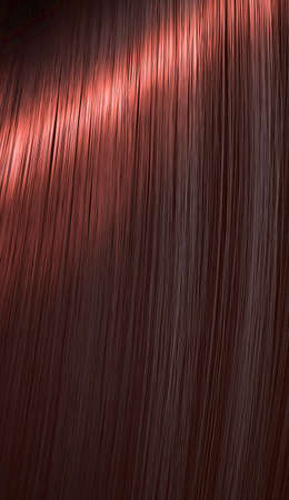 A closeup view of a section of glossy straight red hair in a wavy style - 3D render Stock Photo