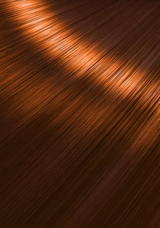 A closeup view of a section of glossy straight ginger hair in a wavy style - 3D render