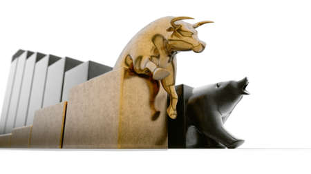 Bull and bear figurines trailing upward and downward trending graphs respectively side by side on an isolated background - 3D render Banco de Imagens