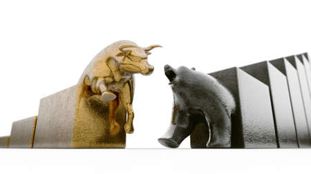 Bull and bear figurines trailing upward and downward trending graphs respectively converging on an isolated background - 3D render