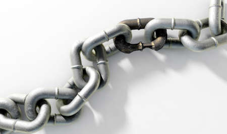 A heave meatl chain with a very rusted and corroded link joing the two halves together - 3D render