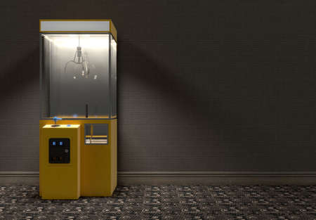 A yellow empty arcade type claw grabber game in a dimly lit vintage room - 3D render