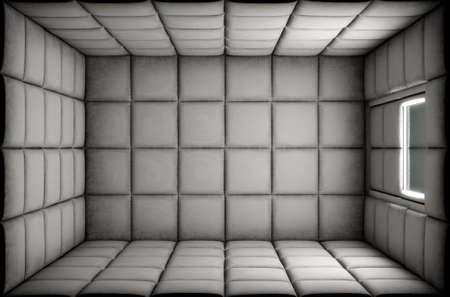 Een lege witte gewatteerde cel in een psychiatrische inrichting - 3D render Stockfoto
