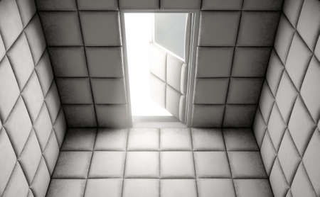 An Empty White Padded Cell With An Open Door In A Mental Hospital   3D  Render
