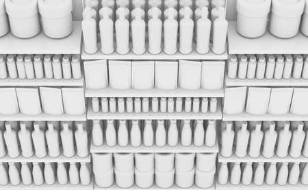 An unsaturated view of a few sections of a supermarket shelf packed with generic consumable products - 3D render 版權商用圖片