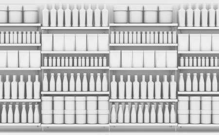 An unsaturated view of a few sections of a supermarket shelf packed with generic consumable products - 3D render Stok Fotoğraf