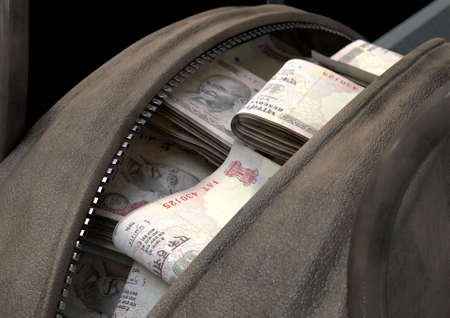 A smuggling concept depicting an open brown leather duffel bag revealing bundles of illicit rolled indian rupee notes - 3D render