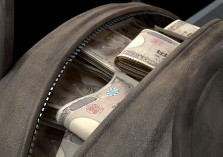 A smuggling concept depicting an open brown leather duffel bag revealing bundles of illicit rolled japanese yen notes - 3D render Stock Photo