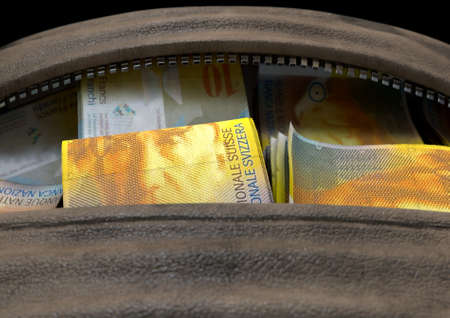 A smuggling concept depicting an open brown leather duffel bag revealing bundles of illicit rolled swiss franc bank notes - 3D render