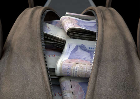 A smuggling concept depicting an open brown leather duffel bag revealing bundles of illicit rolled british pound notes - 3D render
