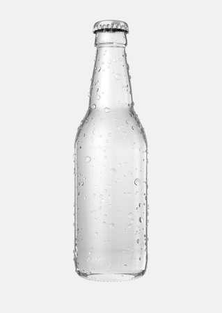Een helderglazen bierfles met druppeltjes condensatie op een geïsoleerde witte 3D studioachtergrond - geef terug