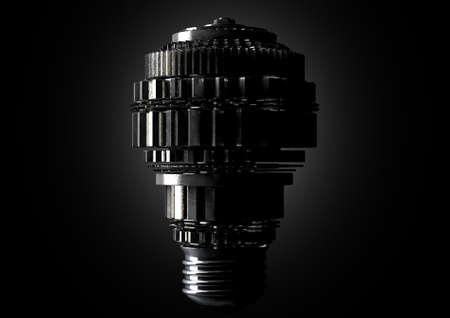 A dramatically lit concept of metal cogwheels making up the shape of a regular light bulb symbolising imagination on an isolated dark background - 3D render
