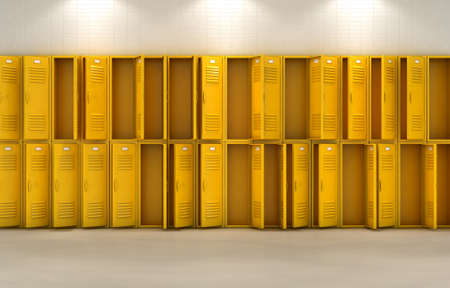 A flat look at a well lit stack of open empty yellow lockers in a school hallway - 3D render