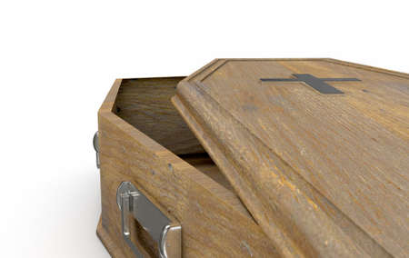 A slightly open empty wooden coffin with a metal crucifix and handles on an isolated white studio background - 3D Render Stockfoto