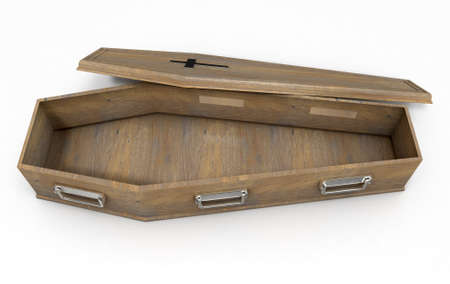 A slightly open empty wooden coffin with a metal crucifix and handles on an isolated white studio background - 3D Render Stock Photo